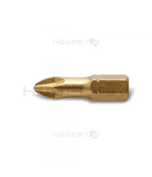 Насадки для отверток PZ3 25 мм, сталь S2, (с насечками) нитрид титана, slim, 5 шт., пластикоая упако
