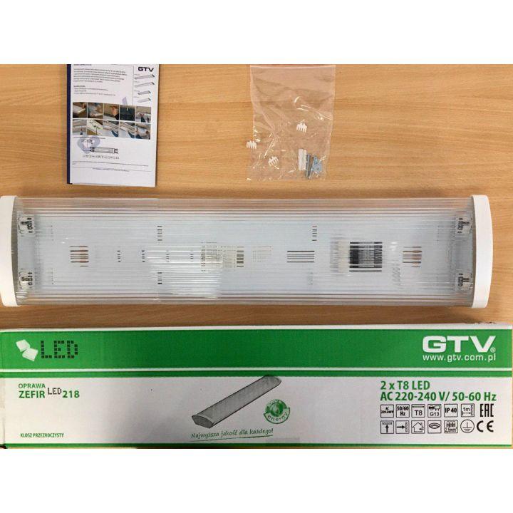 Настенно-потолочный светильник ZEFIR-LED 2x60см, T8, IP40, ABS/PC (прозрачный рассеиватель)