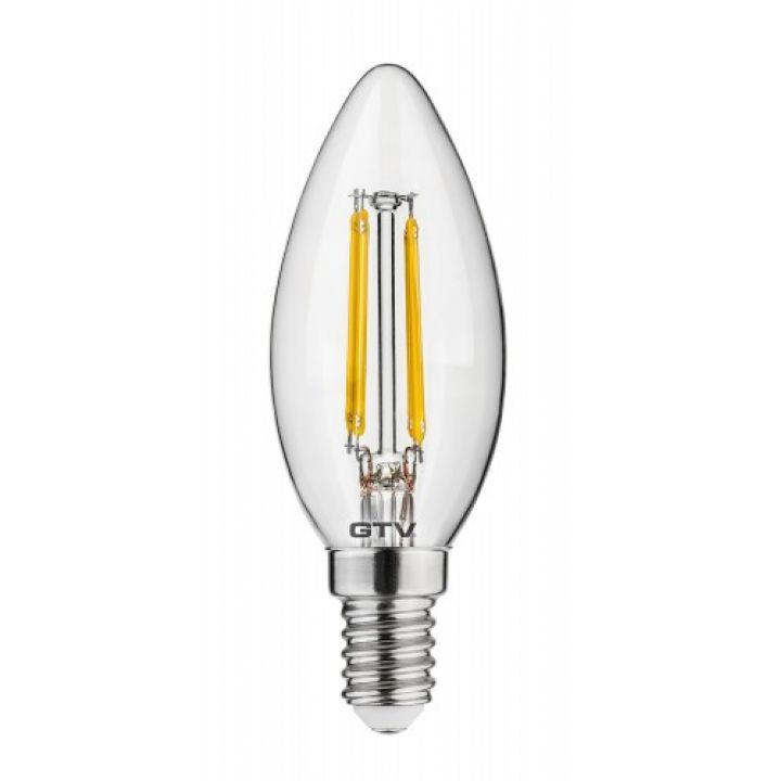 Cветодиодная лампа LED филаментная, C35, 3000K, E14, 4W, AC220-240V/ 50-60Hz, RA>80, 360*, 400lm, 35mА