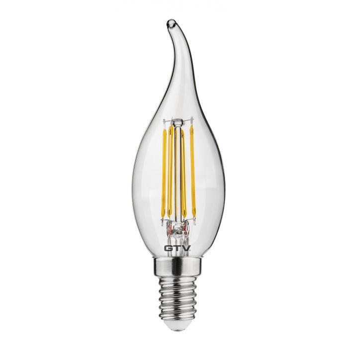 Cветодиодная лампа LED филаментная, C35L, 3000K, E14, 4W, AC220-240V/ 50-60Hz, RA>80, 360*, 400lm, 35mA