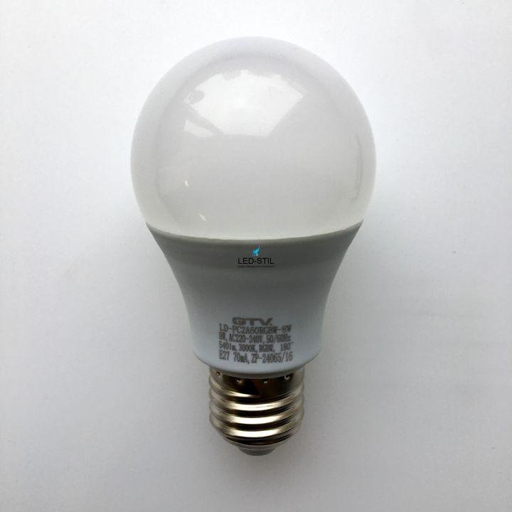 Cветодиодная лампа LED RGBW, A60, 8W, E27, AC220-240V, 180*, 540lm, 70mA, RGBW, ПДУ
