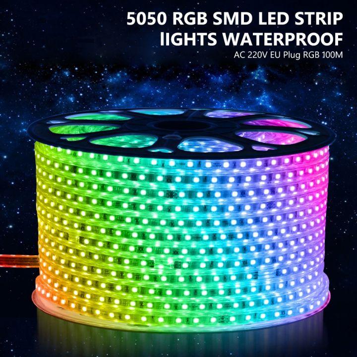 Светодиодная лента премиум, 220-240В, монохромный свет, RGB.5050, 120 шт./м, 14.4Вт/м,IP68