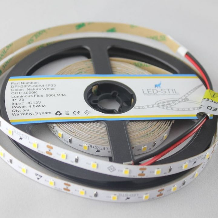 LED лента LED-STIL 4000K, 4,8 w, 2835, 60 шт., IP33, 12V,500lm.