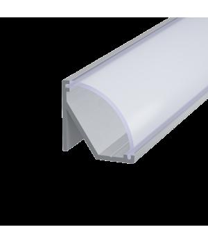 Алюминиевый профиль угловой 17*17мм (широкий рассеиватель), 2м, Серебро