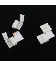 Конектор угловой двусторонний для PCB RGBW 12 mm