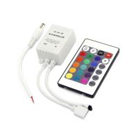 RGB CONTROLLER for RGB strip, DC12V, 72W, group control, 3-outputs, 24keys infrared remote control,
